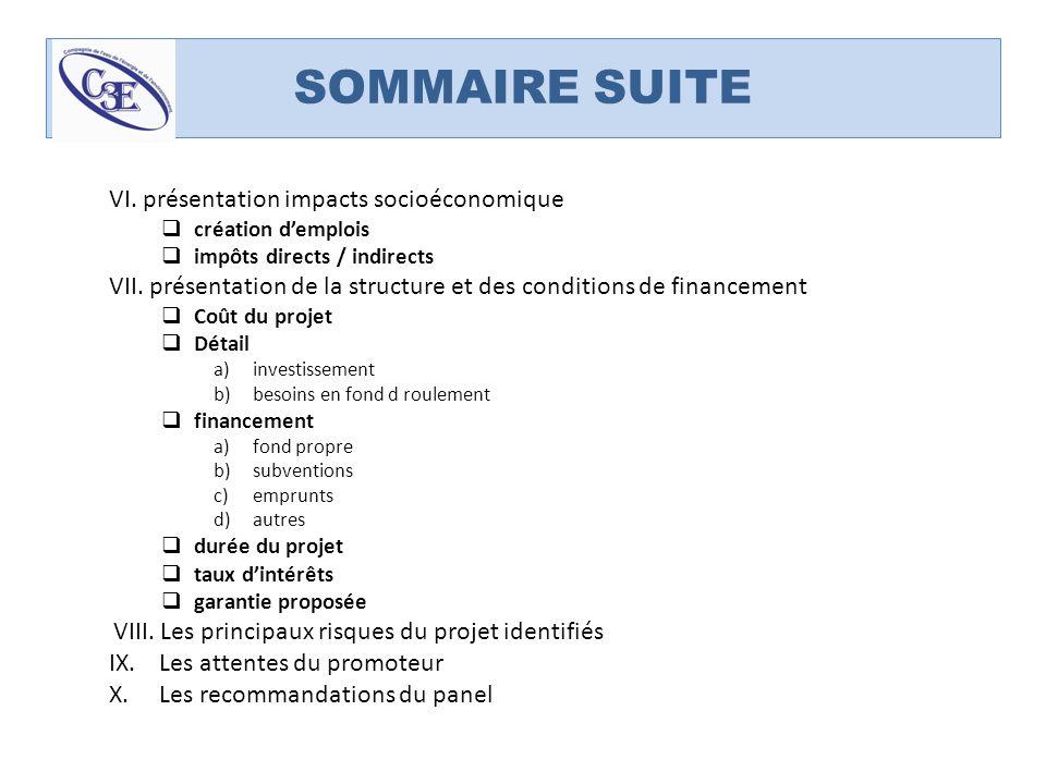 SOMMAIRE SUITE VI. présentation impacts socioéconomique