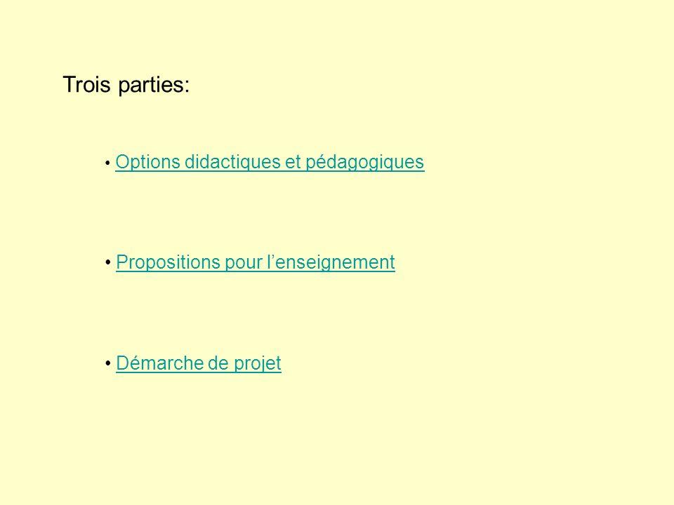 Trois parties: Propositions pour l'enseignement Démarche de projet