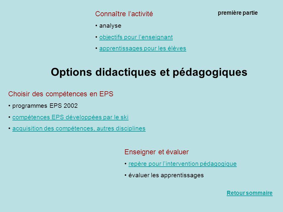 Options didactiques et pédagogiques