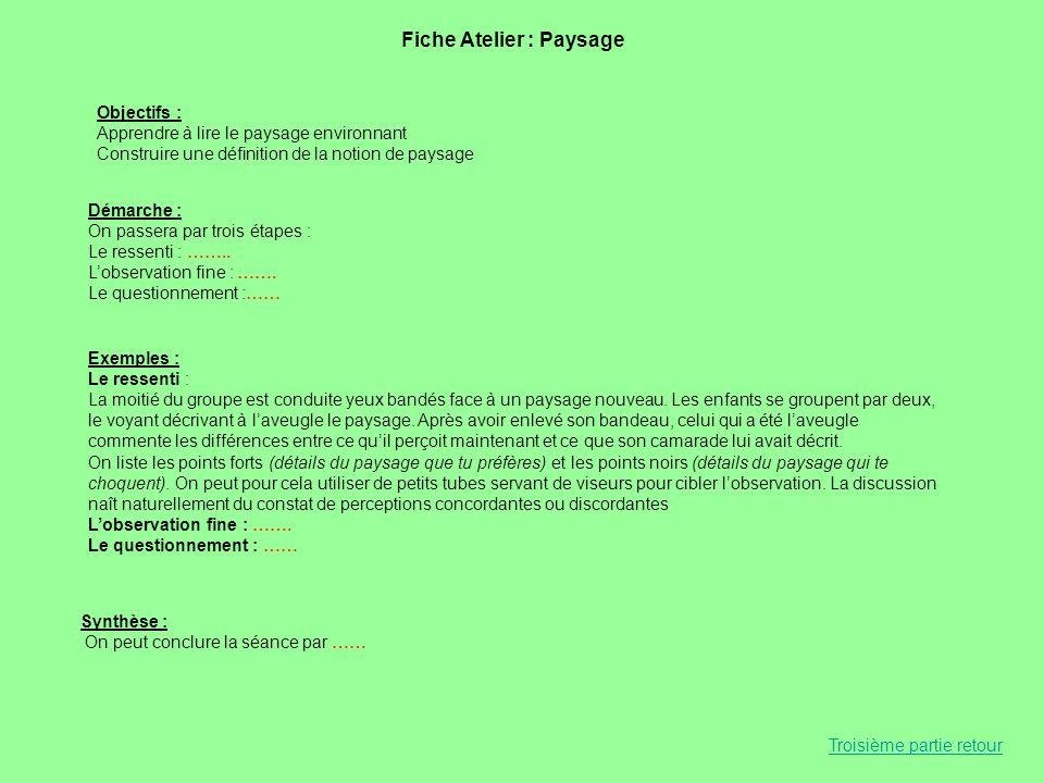 Fiche Atelier : Paysage