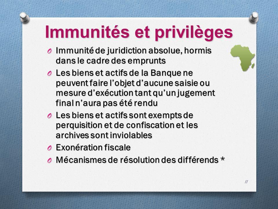 Immunités et privilèges