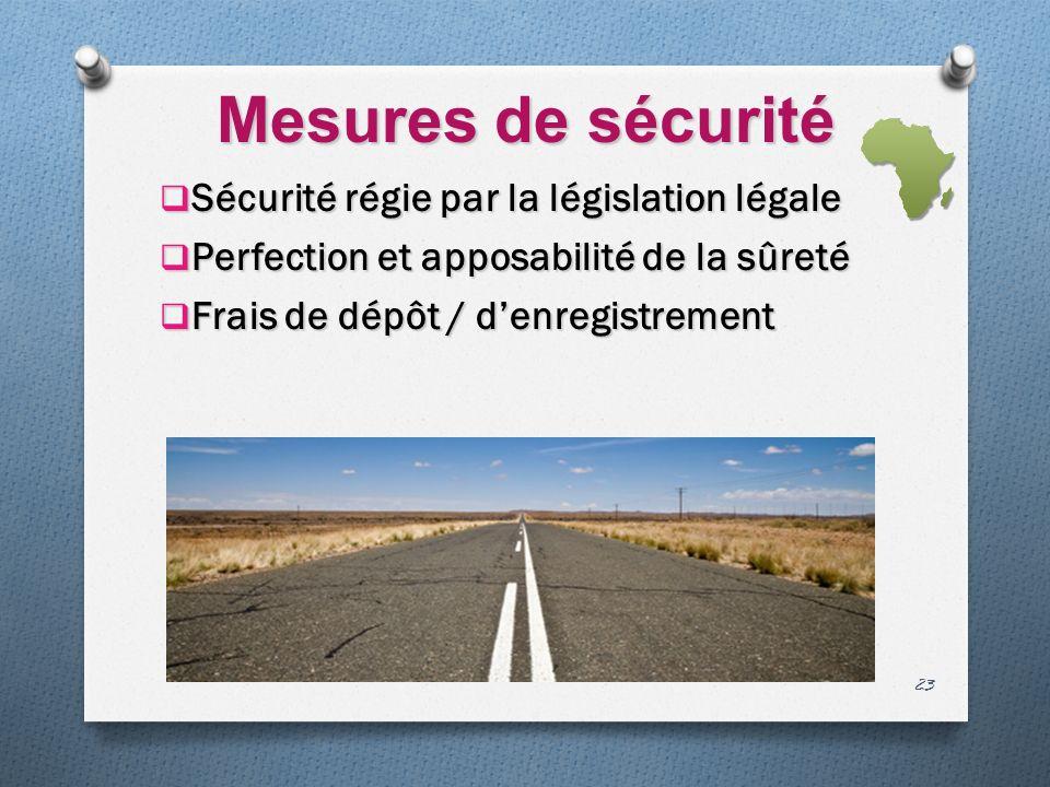 Mesures de sécurité Sécurité régie par la législation légale