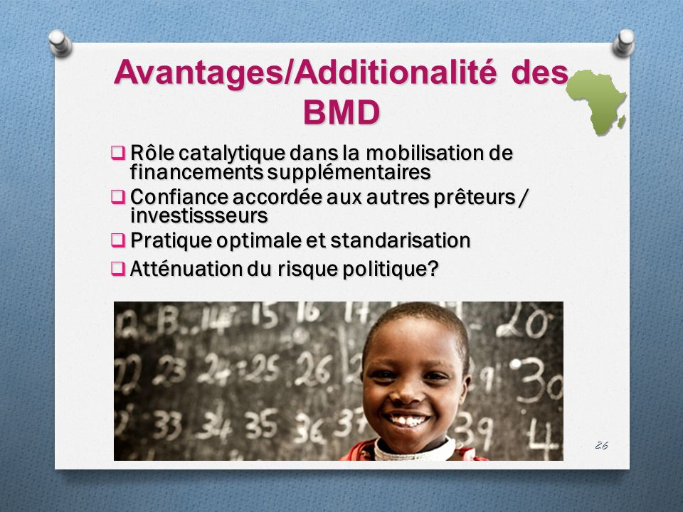 Avantages/Additionalité des BMD