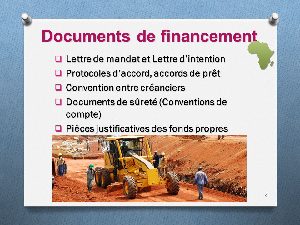 Documents de financement