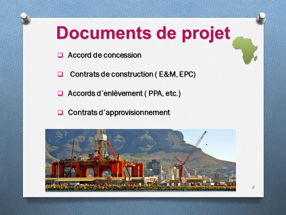 Documents de projet Accord de concession
