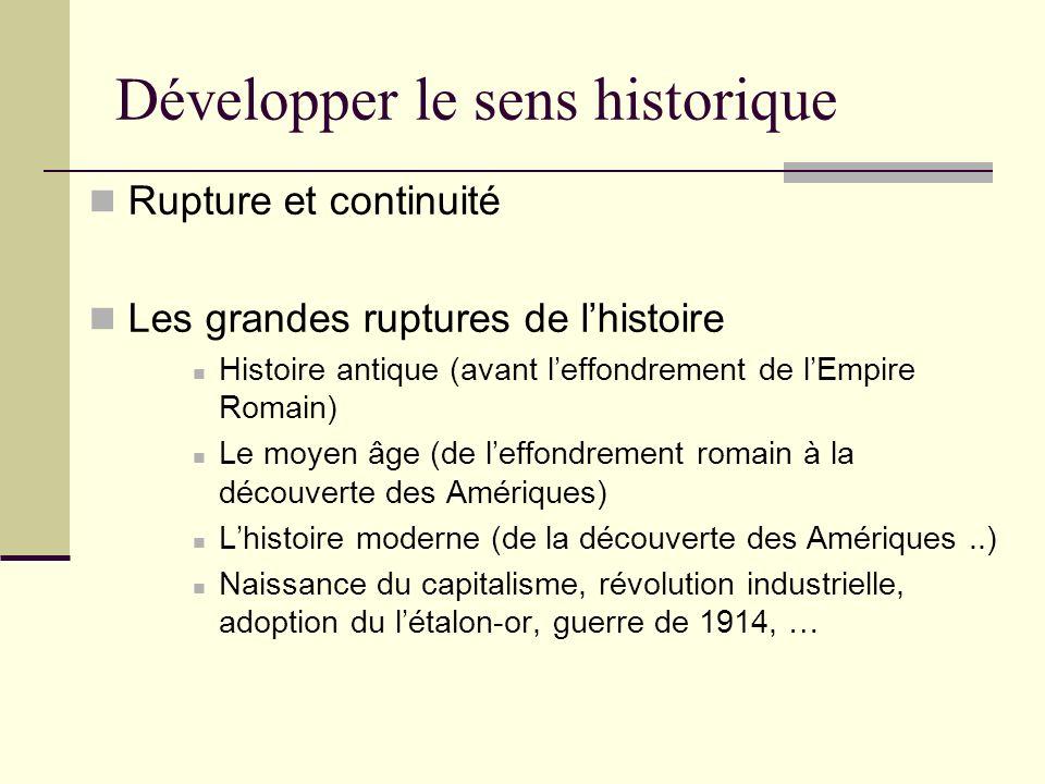Développer le sens historique