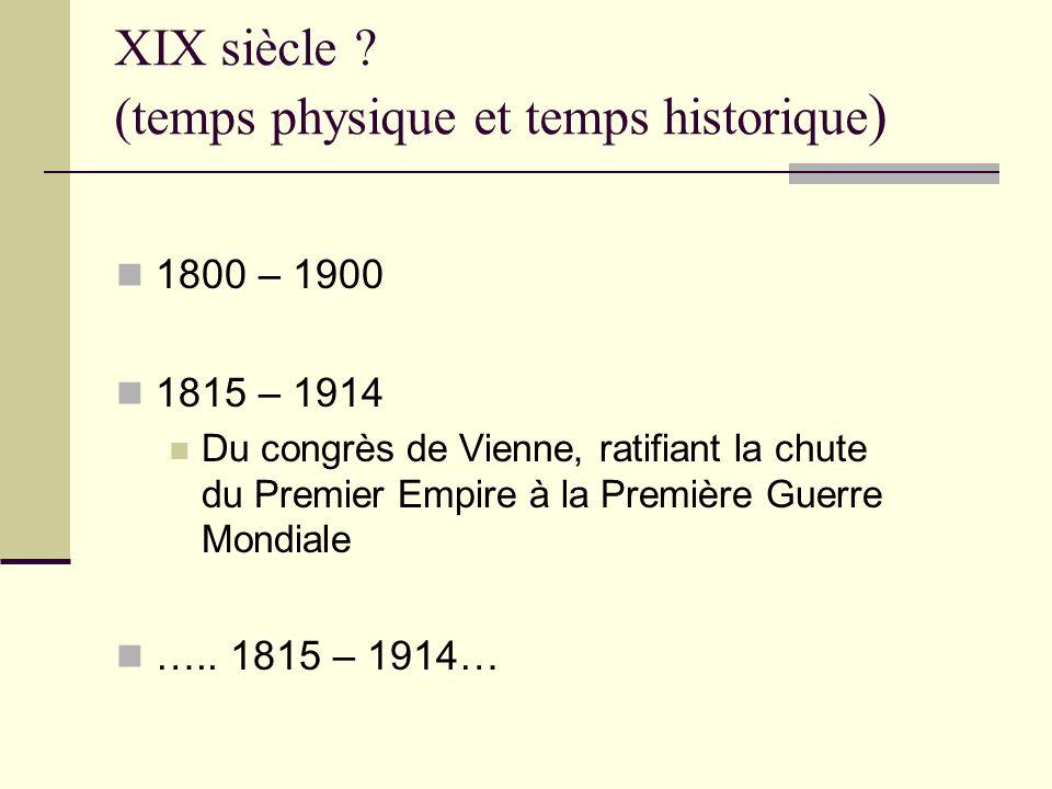 XIX siècle (temps physique et temps historique)