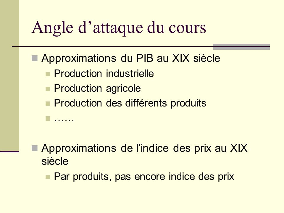Angle d'attaque du cours