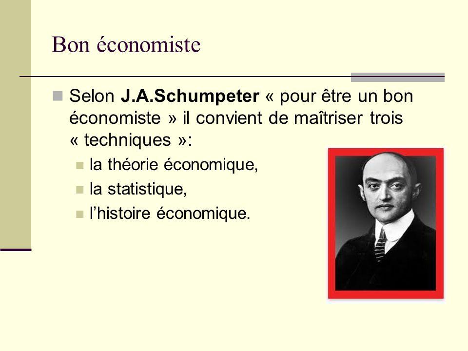 Bon économiste Selon J.A.Schumpeter « pour être un bon économiste » il convient de maîtriser trois « techniques »: