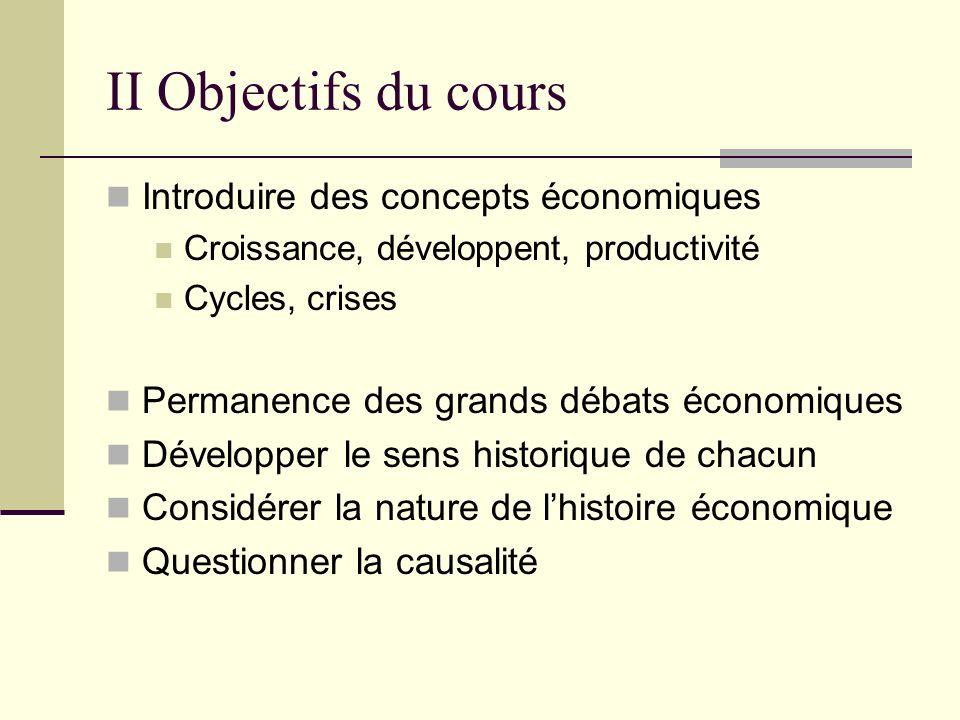 II Objectifs du cours Introduire des concepts économiques
