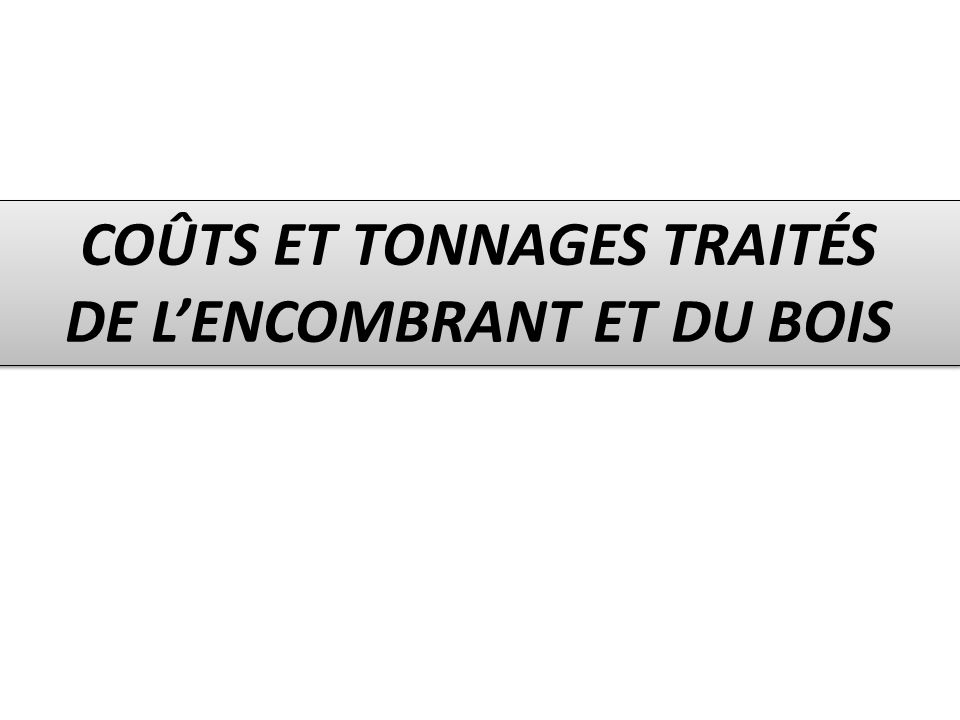 COÛTS ET TONNAGES TRAITÉS DE L'ENCOMBRANT ET DU BOIS