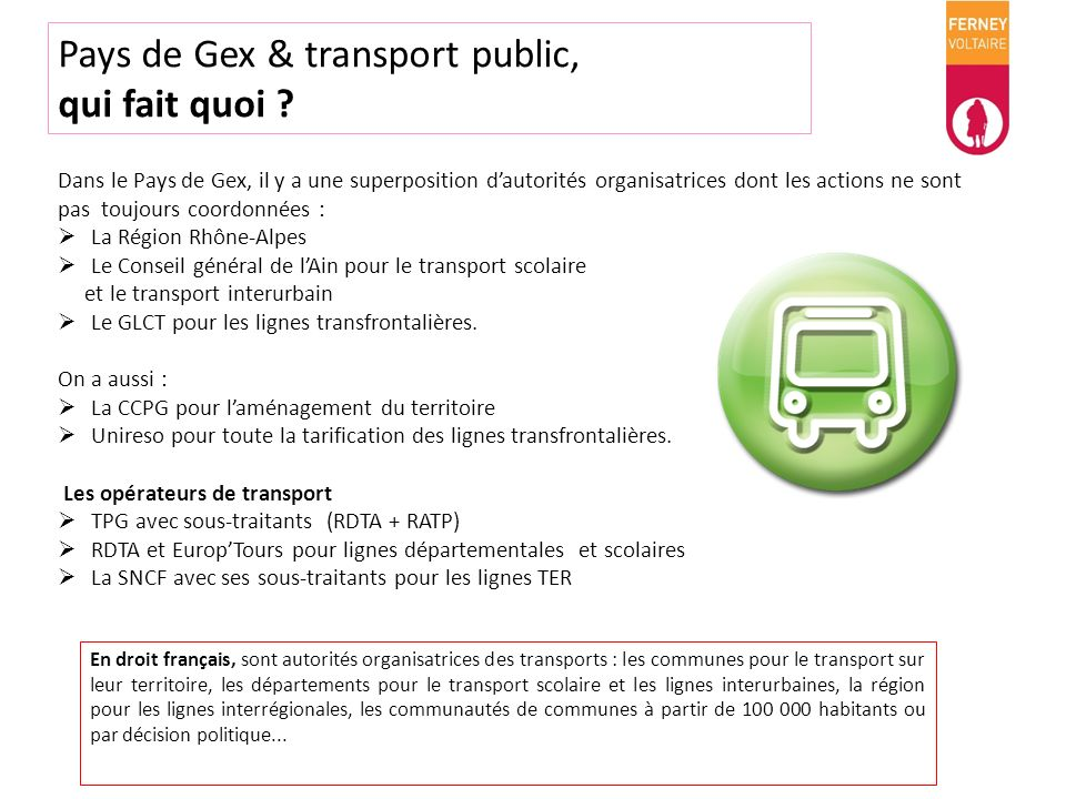 Pays de Gex & transport public, qui fait quoi