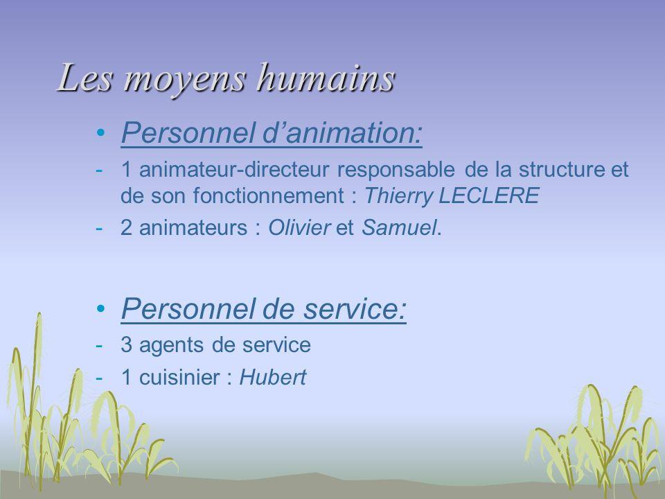 Les moyens humains Personnel d'animation: Personnel de service: