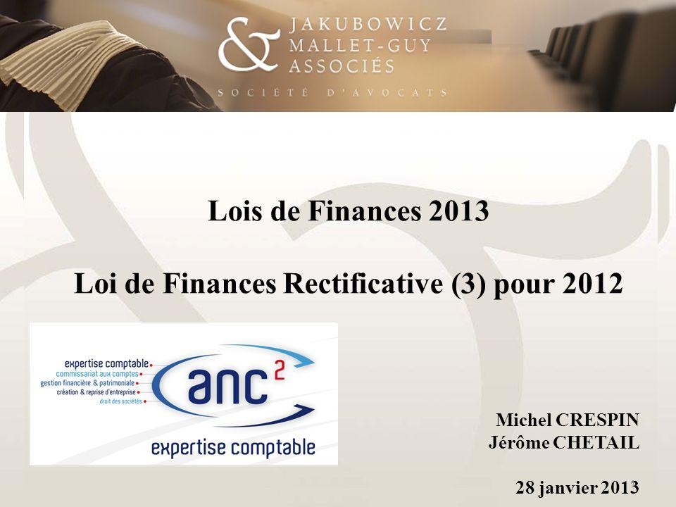 Loi de Finances Rectificative (3) pour 2012