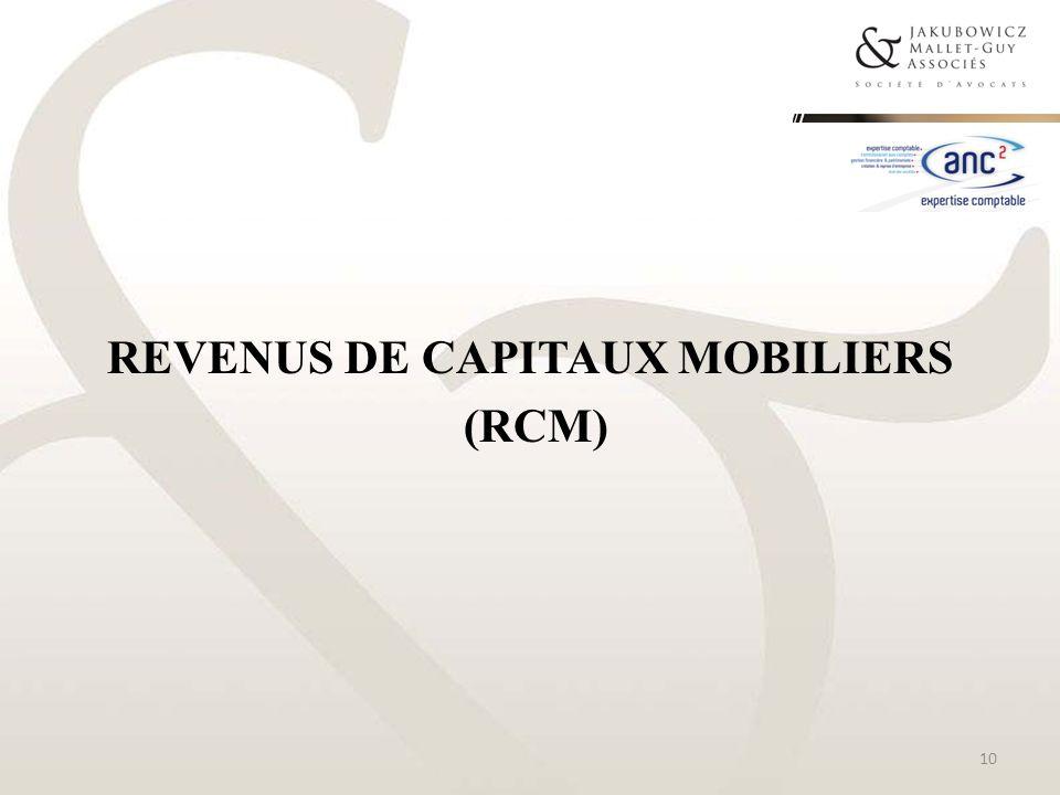 REVENUS DE CAPITAUX MOBILIERS