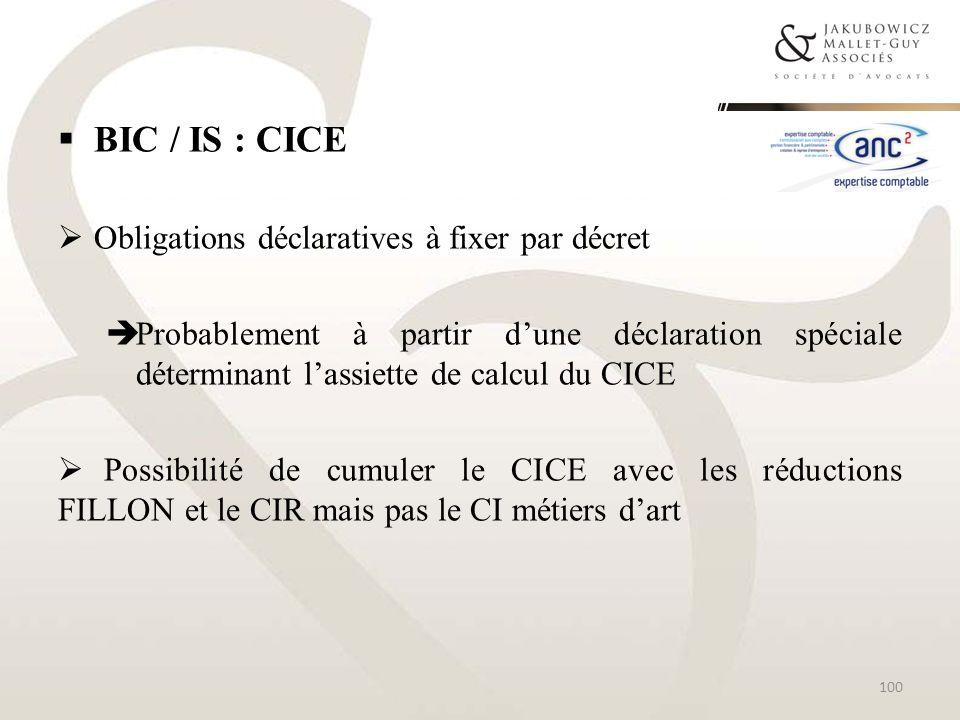 BIC / IS : CICE Obligations déclaratives à fixer par décret
