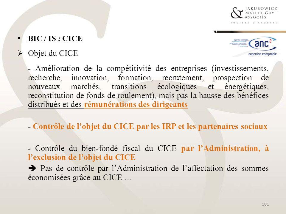 - Contrôle de l'objet du CICE par les IRP et les partenaires sociaux