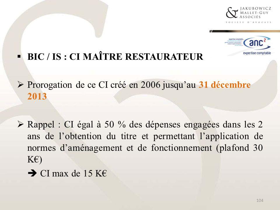 BIC / IS : CI Maître restaurateur