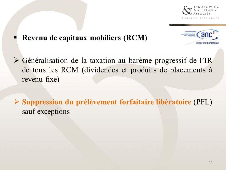 Revenu de capitaux mobiliers (RCM)
