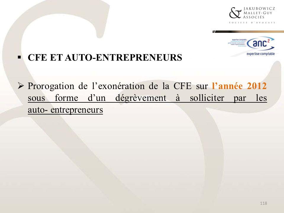 CFE et auto-entrepreneurs