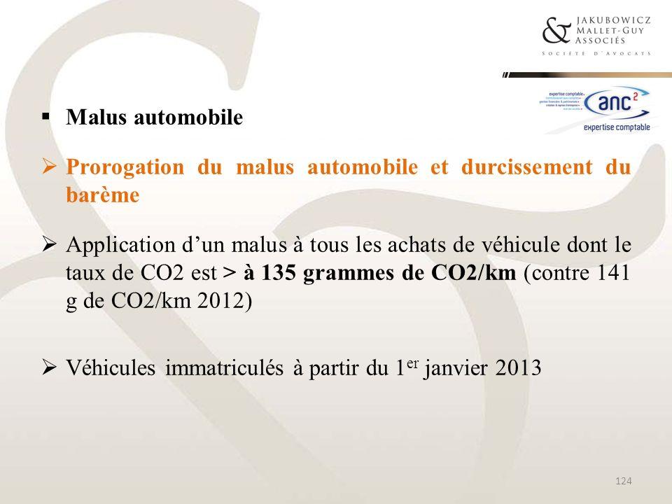 Malus automobile Prorogation du malus automobile et durcissement du barème.