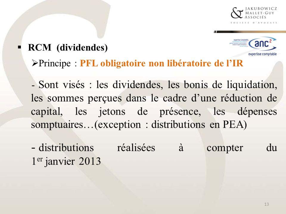 distributions réalisées à compter du 1er janvier 2013
