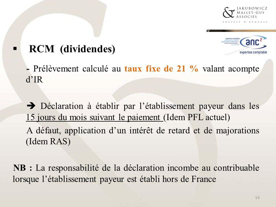 RCM (dividendes) - Prélèvement calculé au taux fixe de 21 % valant acompte d'IR.