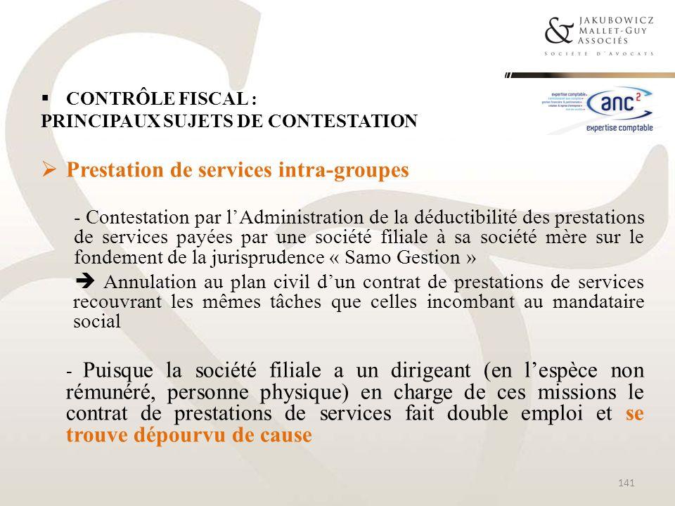 Prestation de services intra-groupes