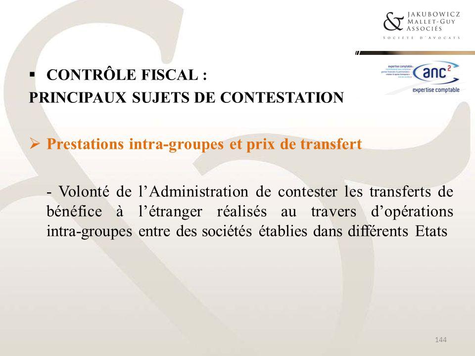 Prestations intra-groupes et prix de transfert