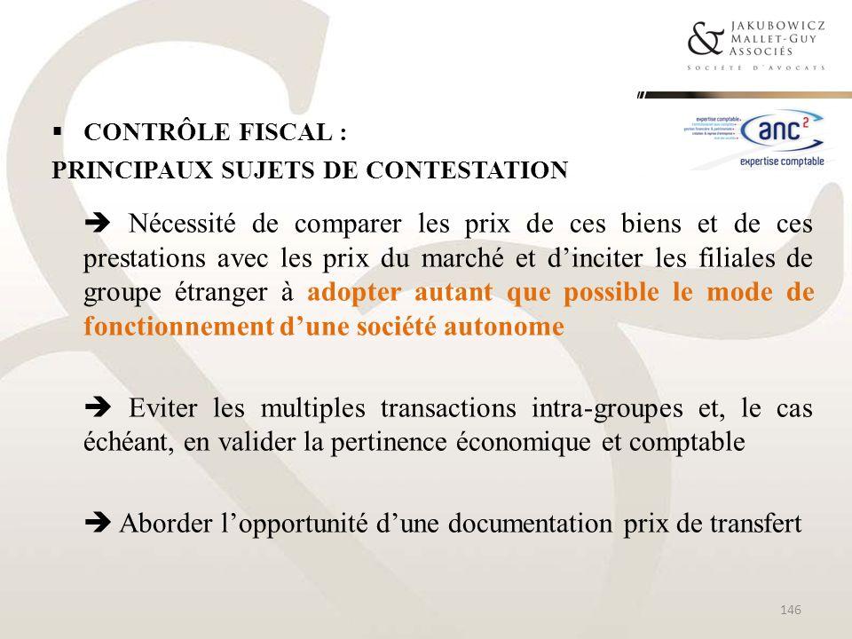  Aborder l'opportunité d'une documentation prix de transfert