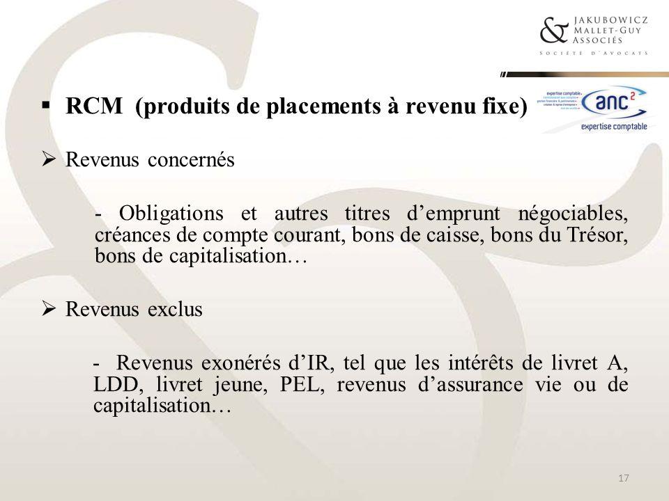 RCM (produits de placements à revenu fixe)