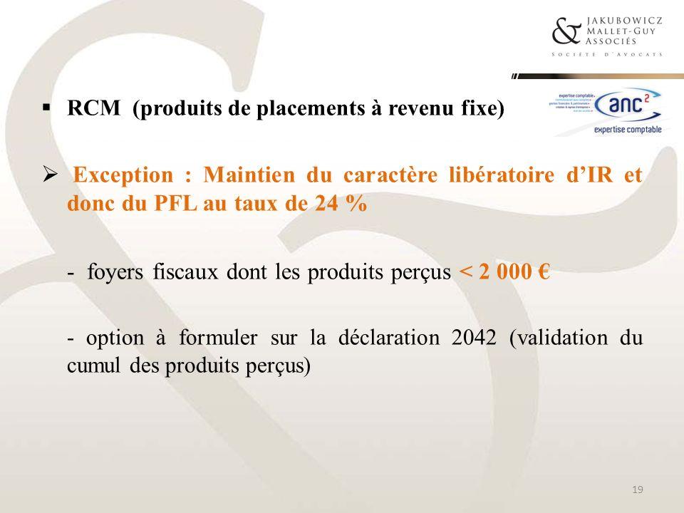 - foyers fiscaux dont les produits perçus < 2 000 €