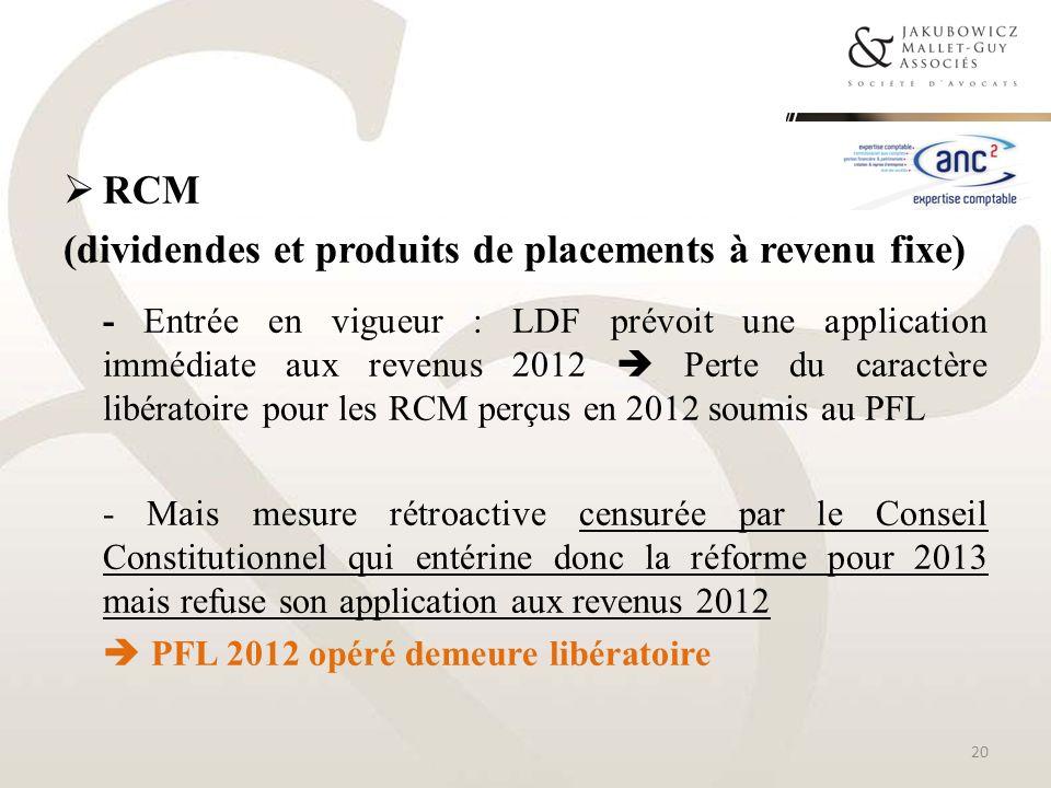 (dividendes et produits de placements à revenu fixe)