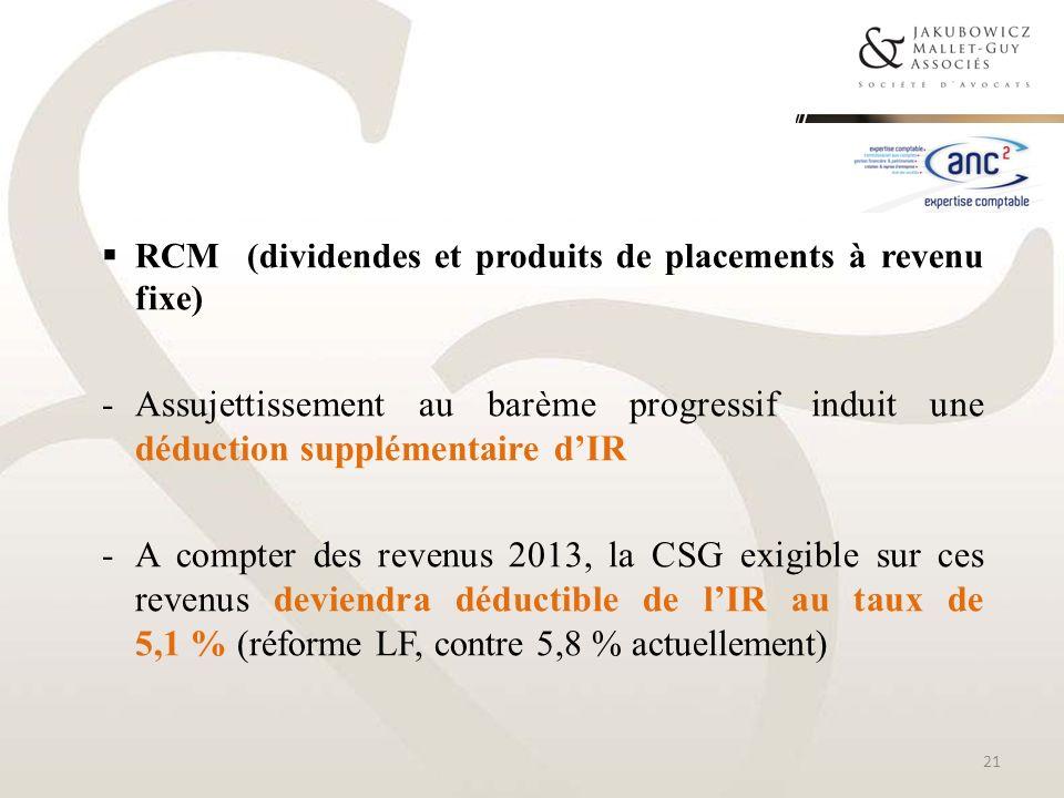 RCM (dividendes et produits de placements à revenu fixe)