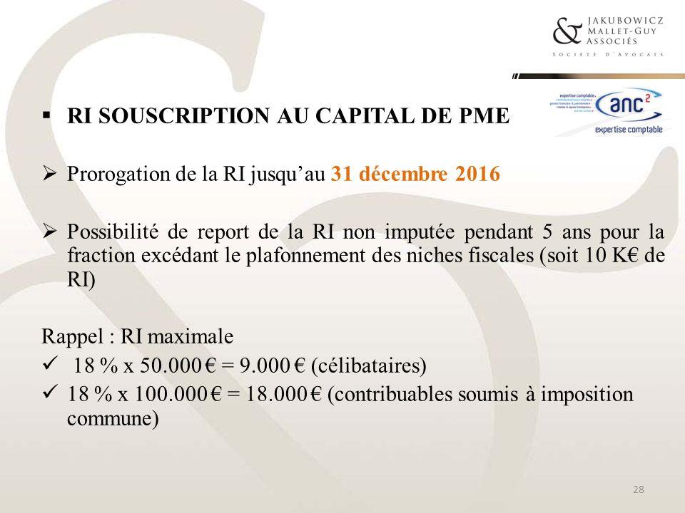 RI souscription au capital de PME