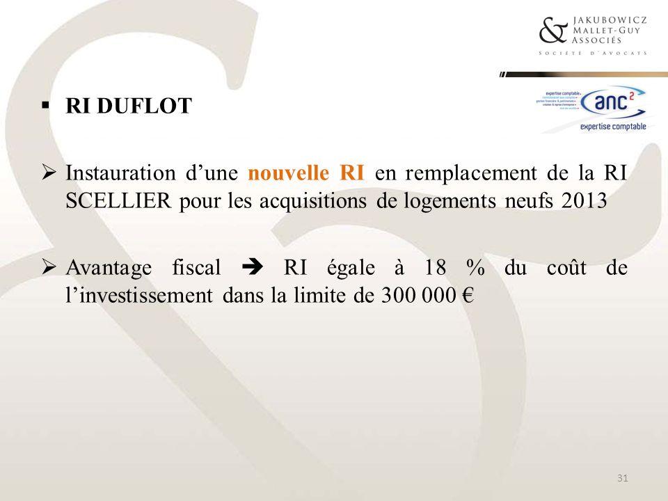 RI DUFLOTInstauration d'une nouvelle RI en remplacement de la RI SCELLIER pour les acquisitions de logements neufs 2013.