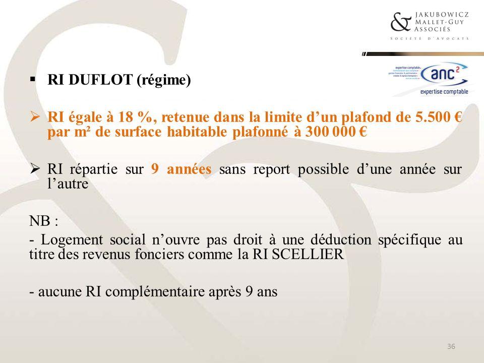 RI DUFLOT (régime)RI égale à 18 %, retenue dans la limite d'un plafond de 5.500 € par m² de surface habitable plafonné à 300 000 €