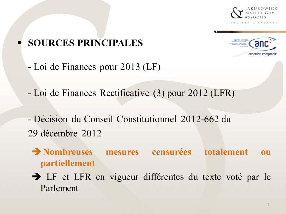 Sources principales - Loi de Finances pour 2013 (LF)