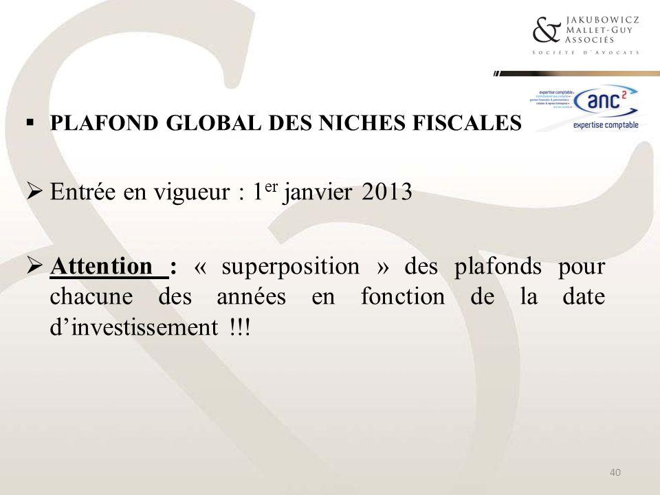 Entrée en vigueur : 1er janvier 2013