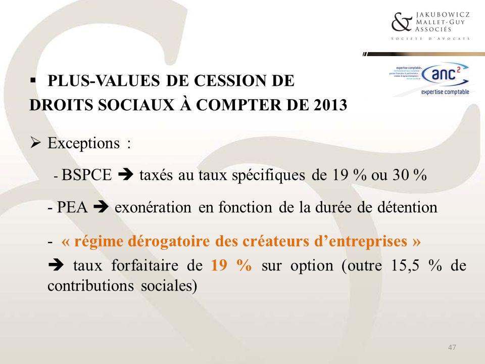 Plus-values de cession de droits sociaux à compter de 2013