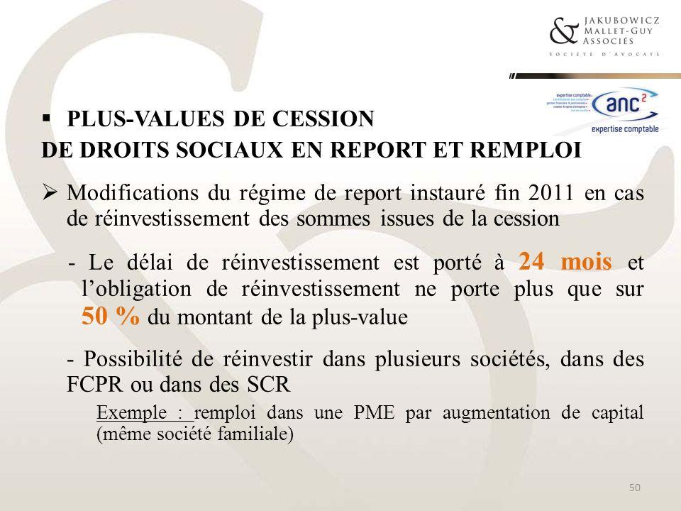 Plus-values de cession de droits sociaux en report et remploi