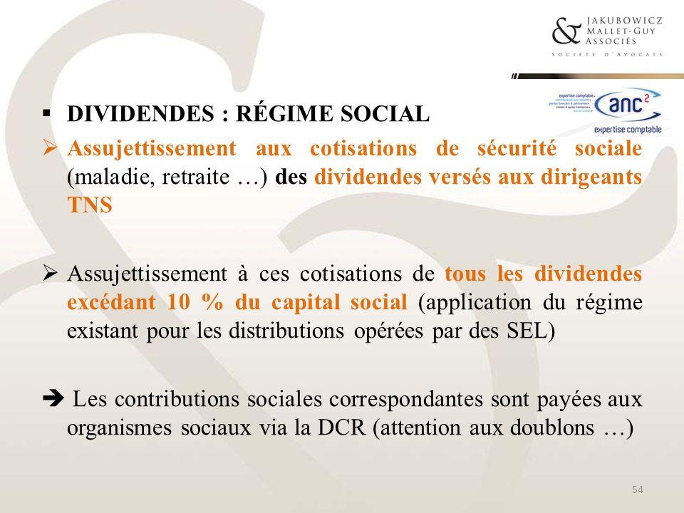 Dividendes : régime social