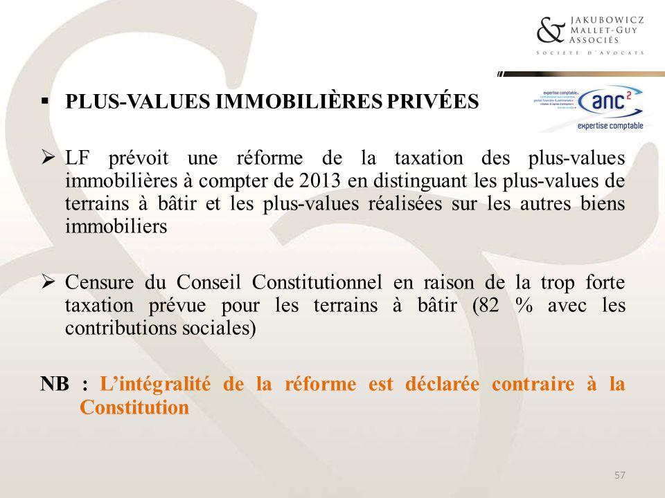 Plus-values immobilières privées
