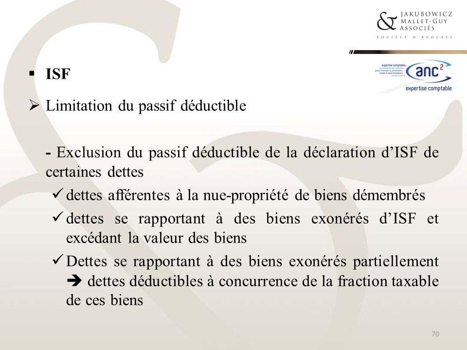 ISFLimitation du passif déductible. - Exclusion du passif déductible de la déclaration d'ISF de certaines dettes.