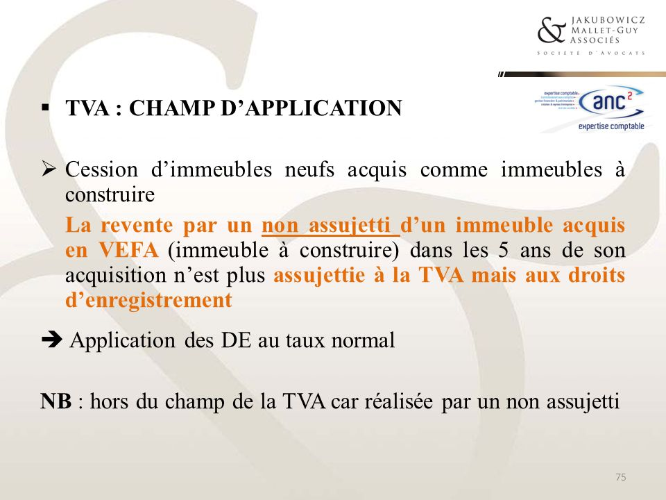 TVA : champ d'application