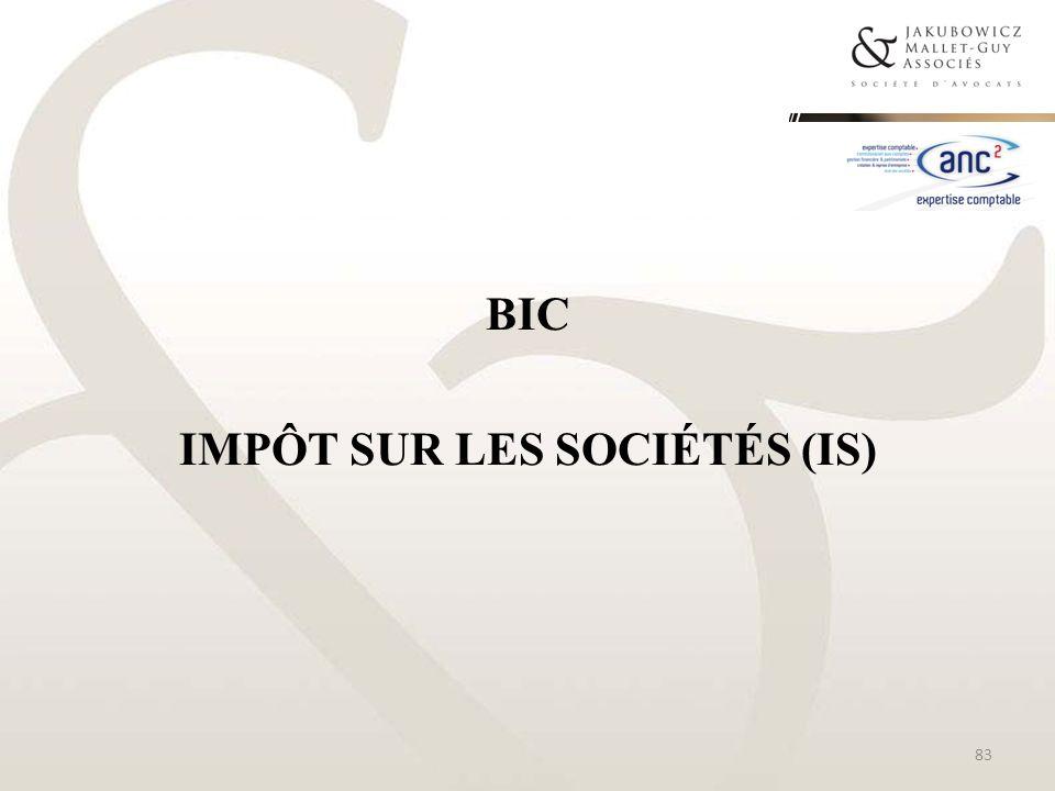 BIC Impôt sur les sociétés (IS)