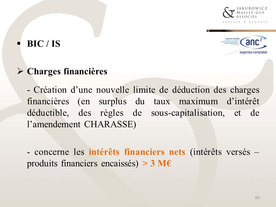 BIC / IS Charges financières.