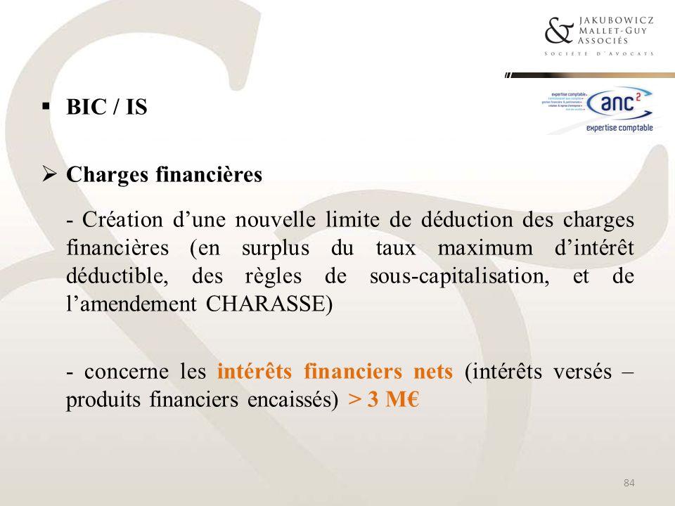 BIC / ISCharges financières.