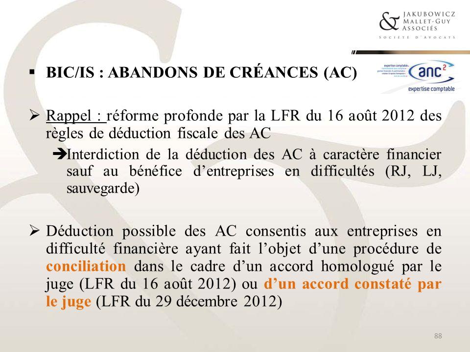 BIC/IS : abandons de créances (AC)