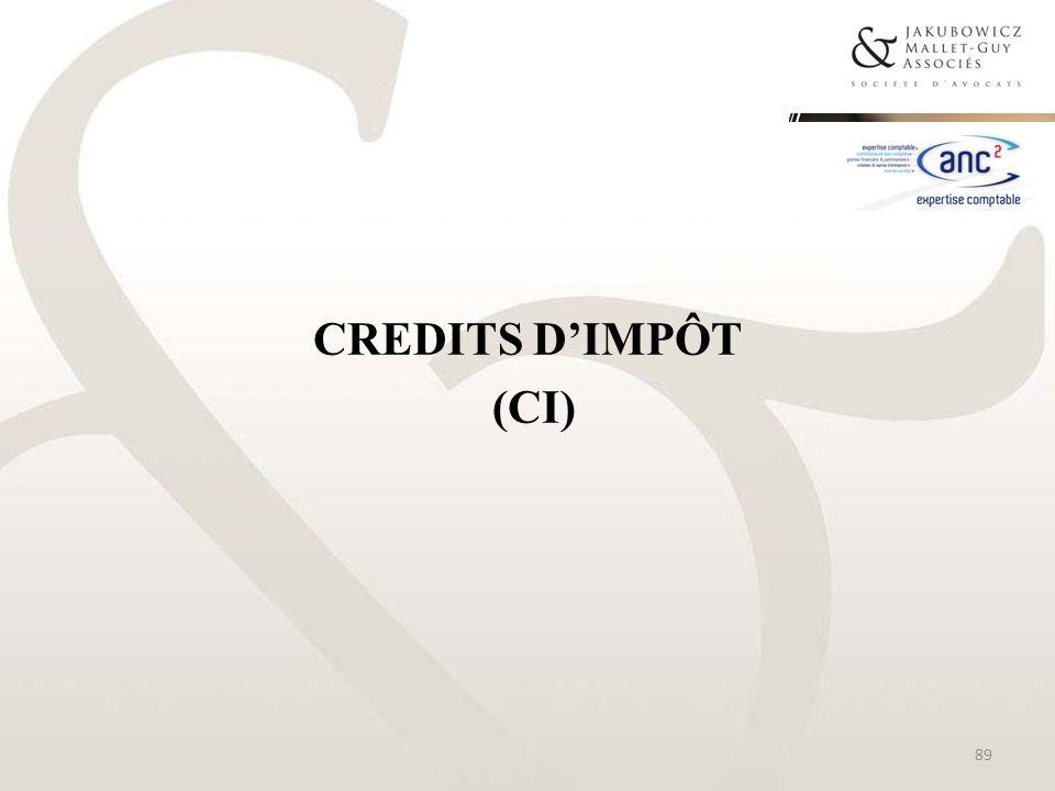 CREDITS D'IMPÔT (CI)